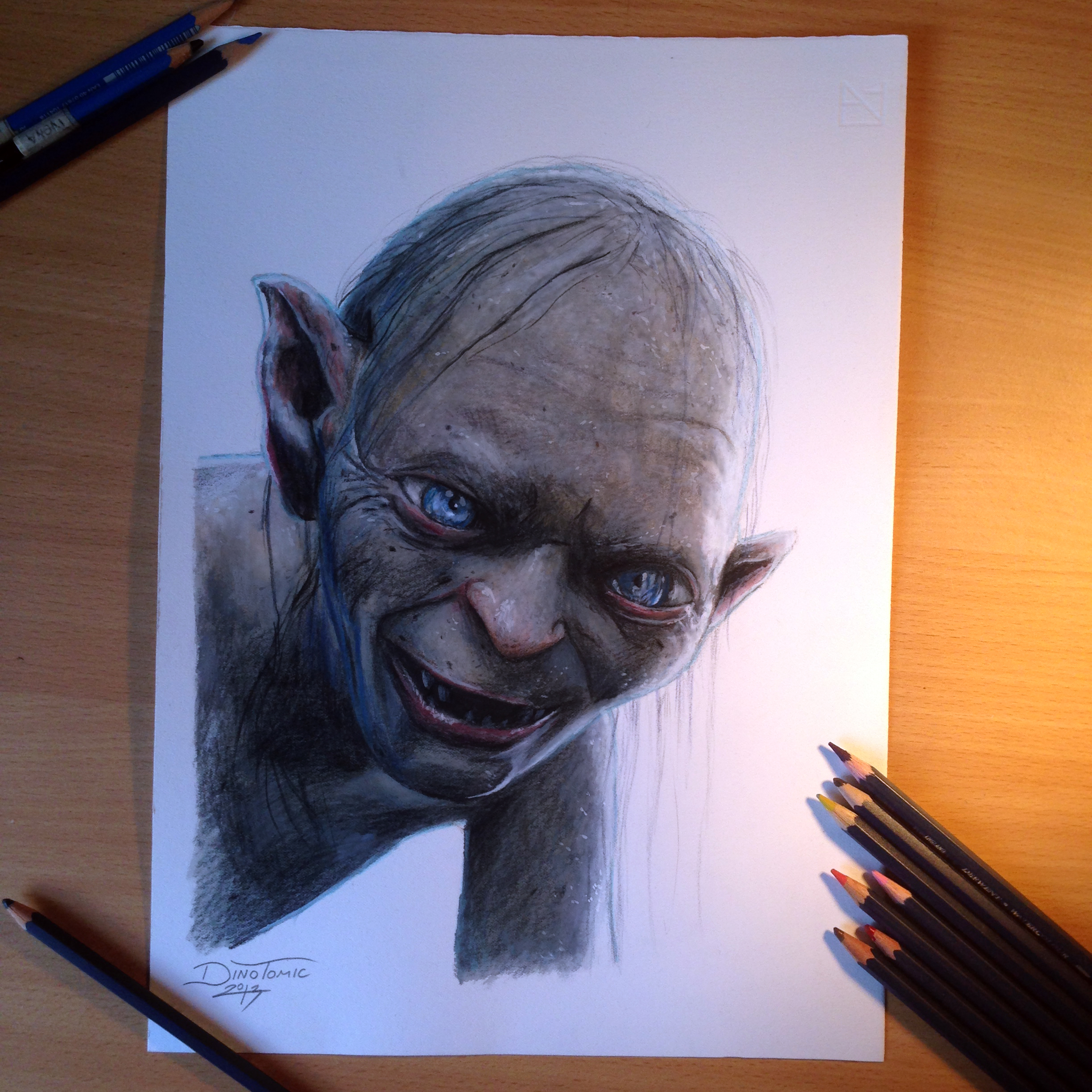 Color Portrait Drawings Gollum Color Pencil Drawing by