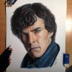 Sherlock Color Pencil Drawing by AtomiccircuS