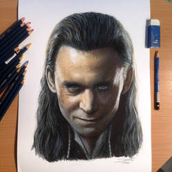 Loki Color Pencil Drawing by AtomiccircuS