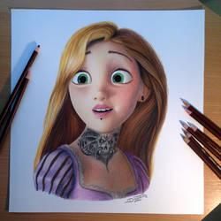 Rapunzel Color Pencil Drawing