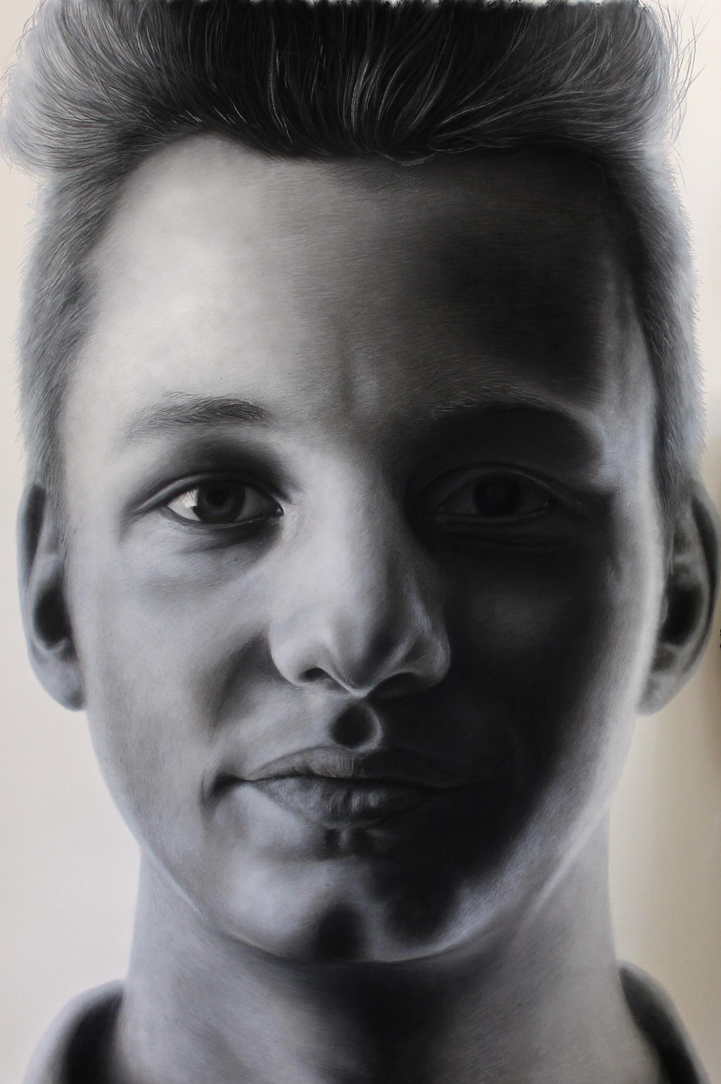 Charcoal portrait of my brother ( detail ) by AtomiccircuS