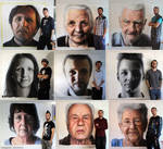 Large Scale Mixed Media Family Portraits