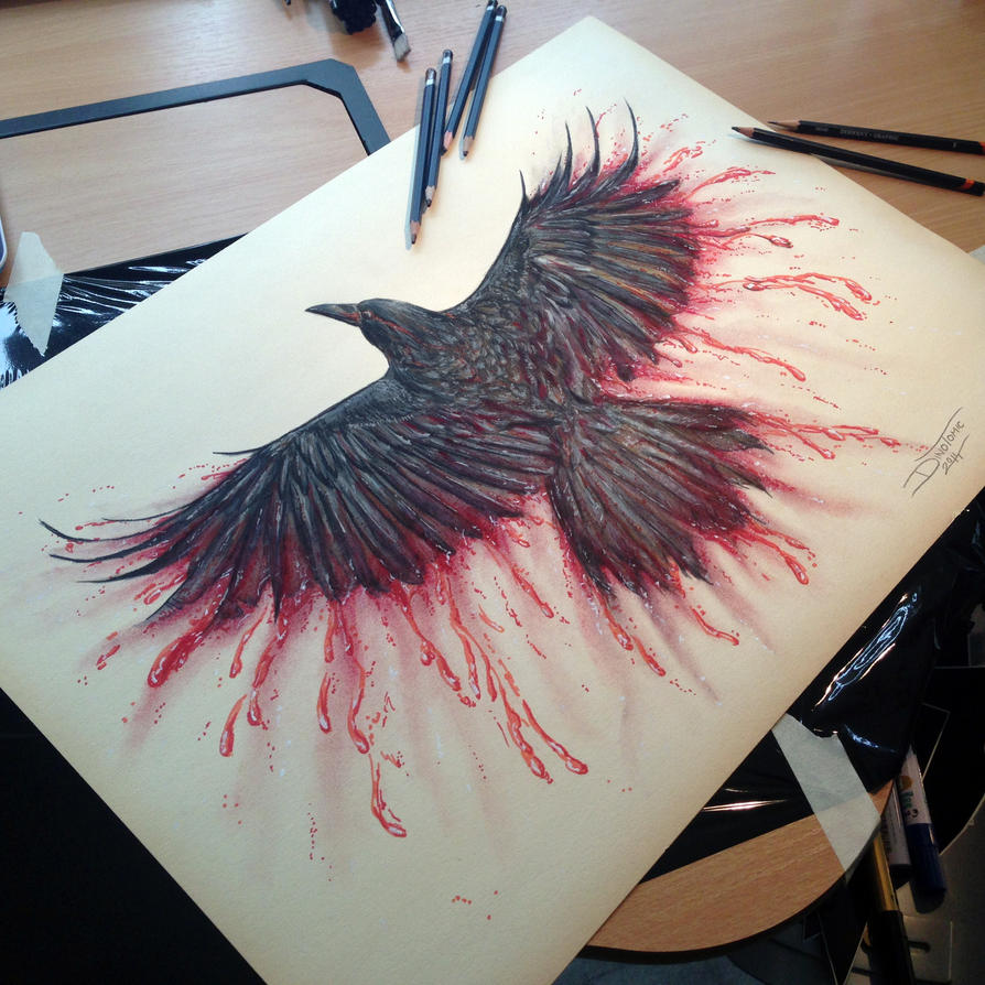 Crow Color Pencil Drawing by AtomiccircuS