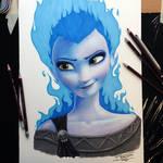 Elsa/Hades Crossover Pencil Drawing