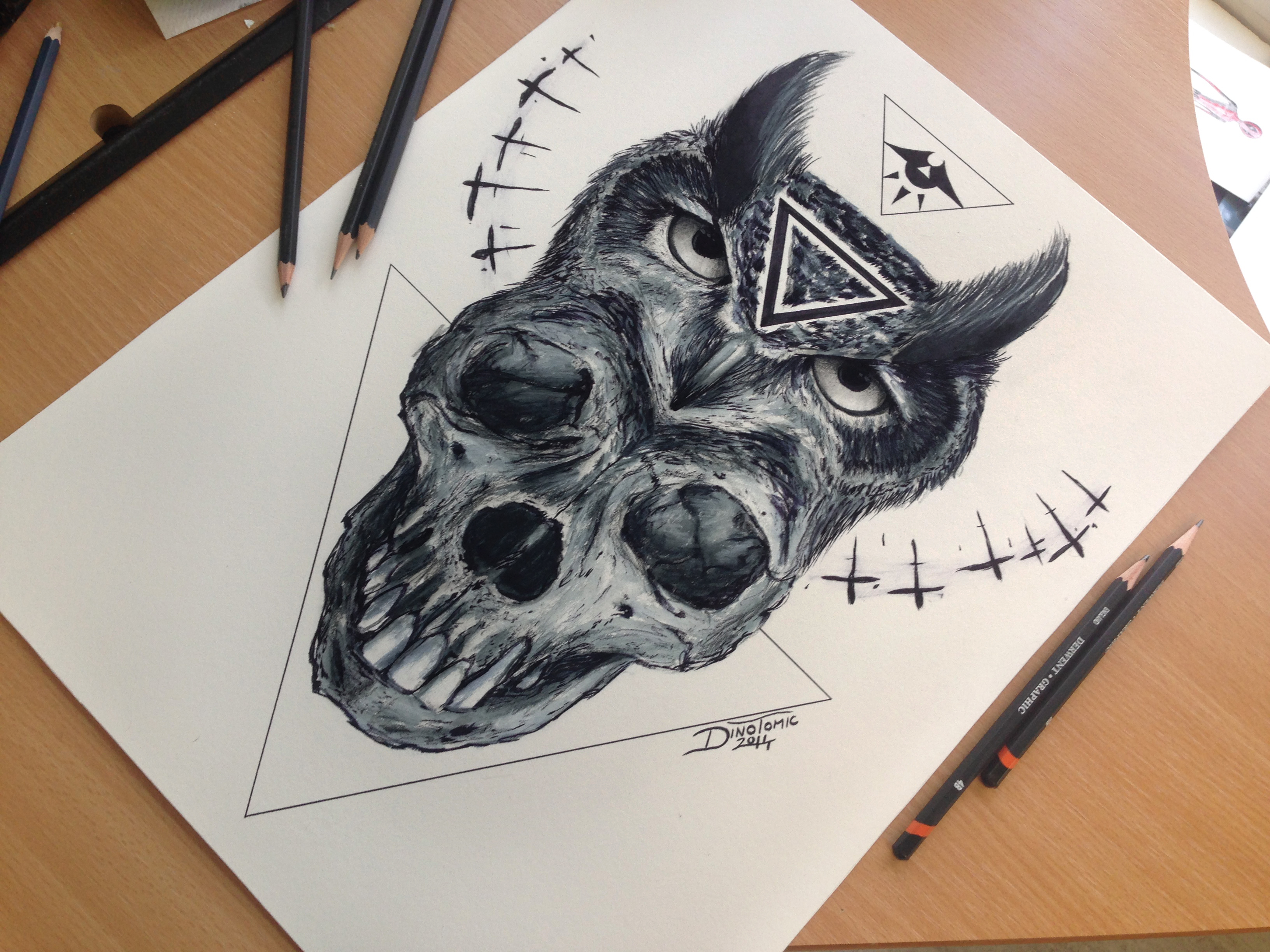 Skull And Owl Drawing by AtomiccircuS on DeviantArt - photo#3