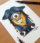 Minion Captain Jack Sparrow Pencil Drawing