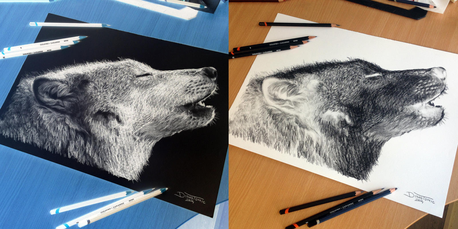 Wolf Inverted Pencil Drawing by AtomiccircuS