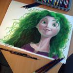 Merida color Pencil Drawing  ( green version )
