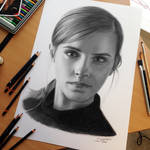 Emma Watson Charcoal Pencil Drawing