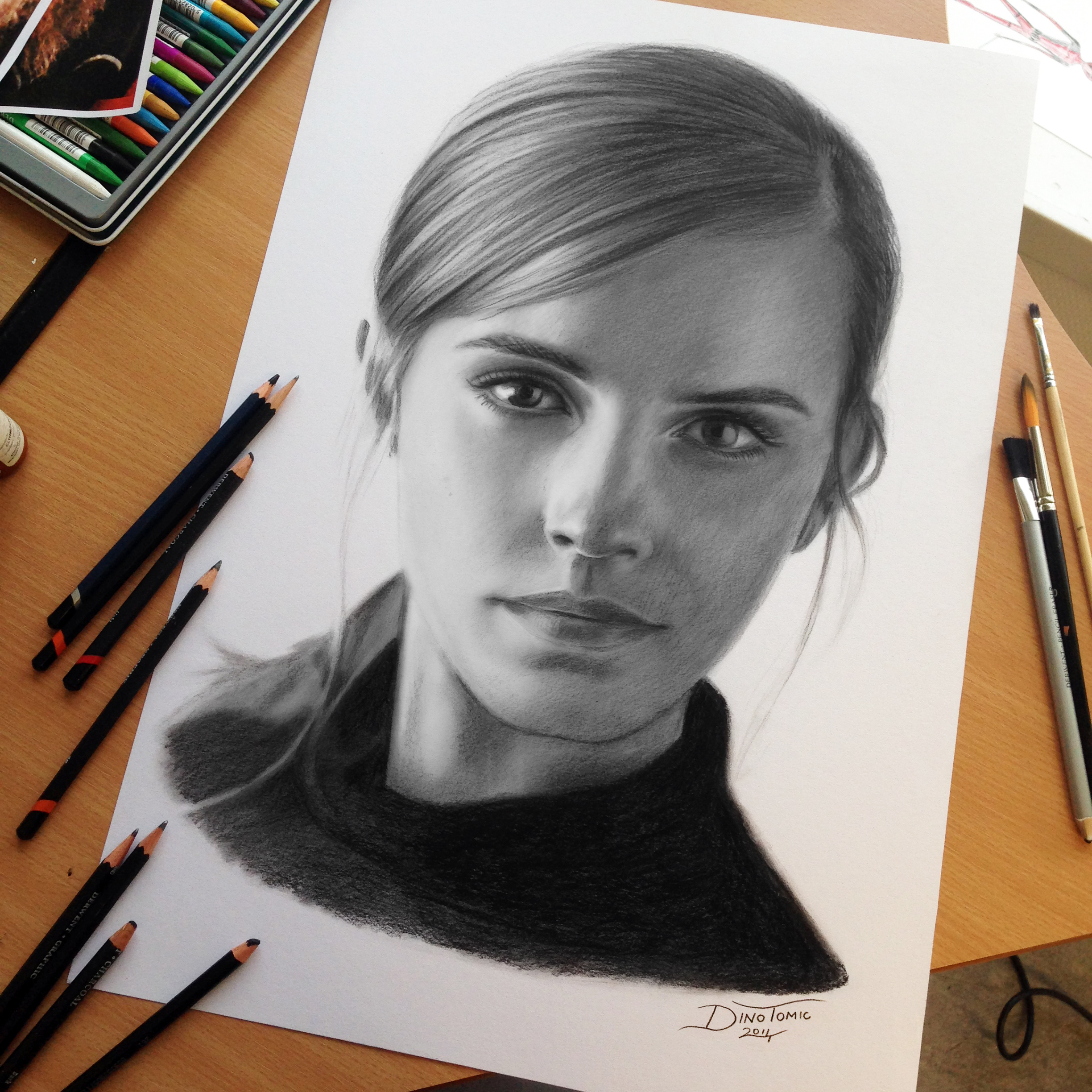 Emma Watson Charcoal Pencil Drawing by AtomiccircuS on