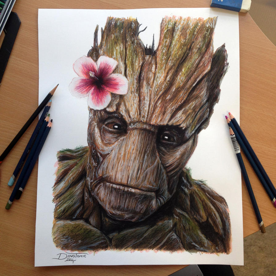 Groot Color Pencil Drawing by AtomiccircuS