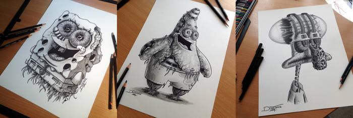 Spongebob / Patrick / Tadeus Pencil Drawing