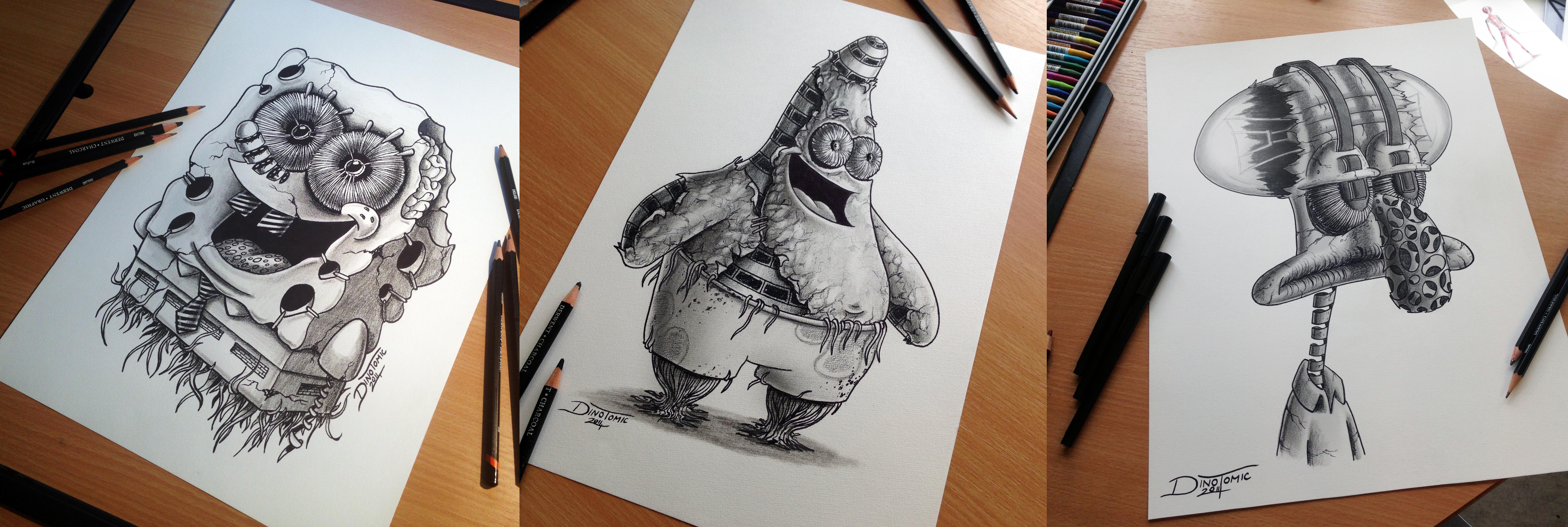 Spongebob / Patrick / Tadeus Pencil Drawing by AtomiccircuS