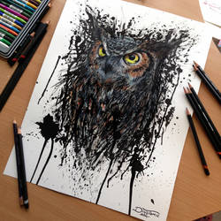 Abstract Owl Watercolor Drawing