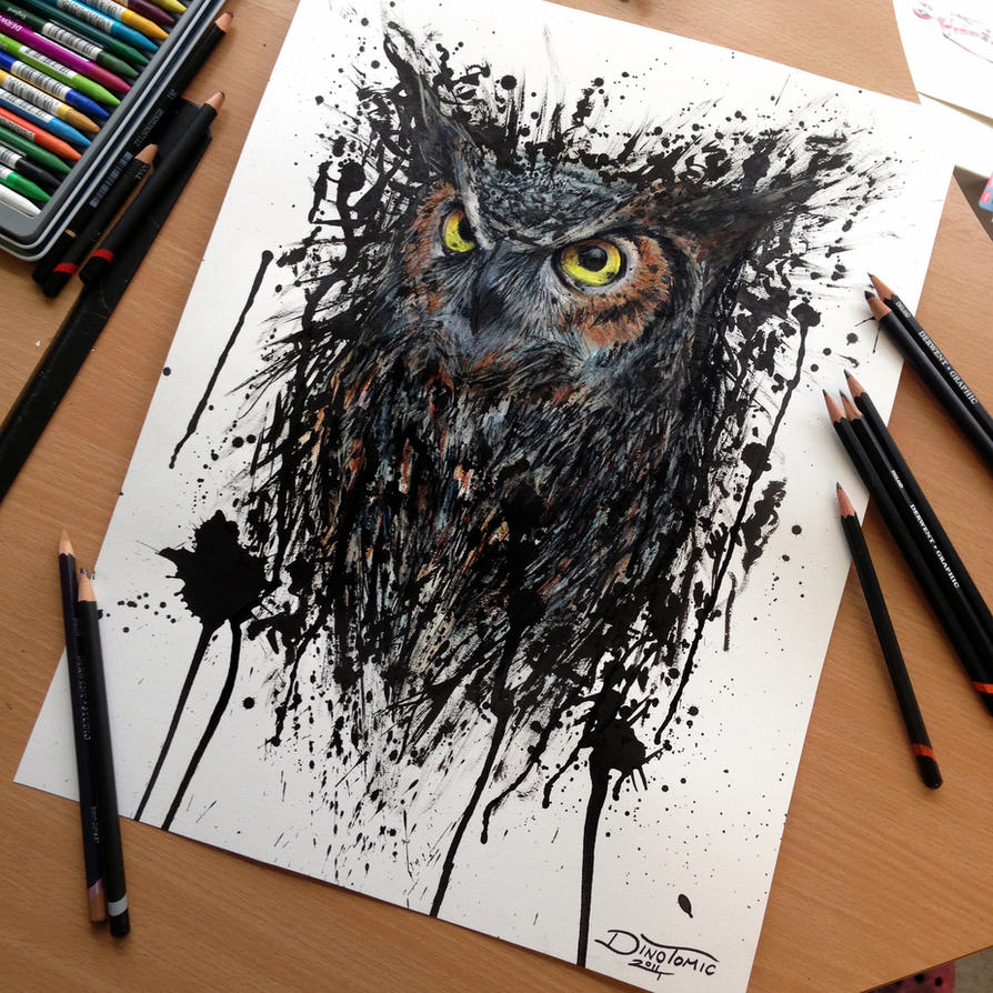 Abstract Owl Watercolor Drawing by AtomiccircuS