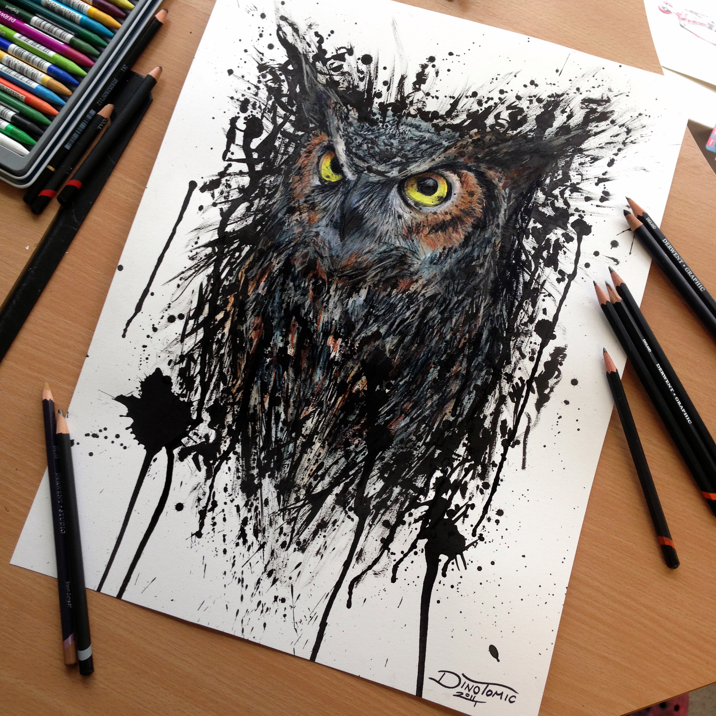 Watercolor Color And Sketch Tattoo: Abstract Owl Watercolor Drawing By AtomiccircuS On DeviantArt