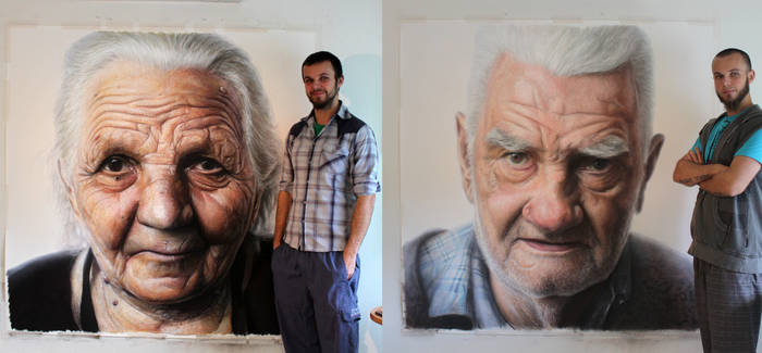 Mixed media portrait of my Grandparents