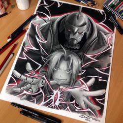 Fullmetal Alchemist Pencil Drawing by AtomiccircuS
