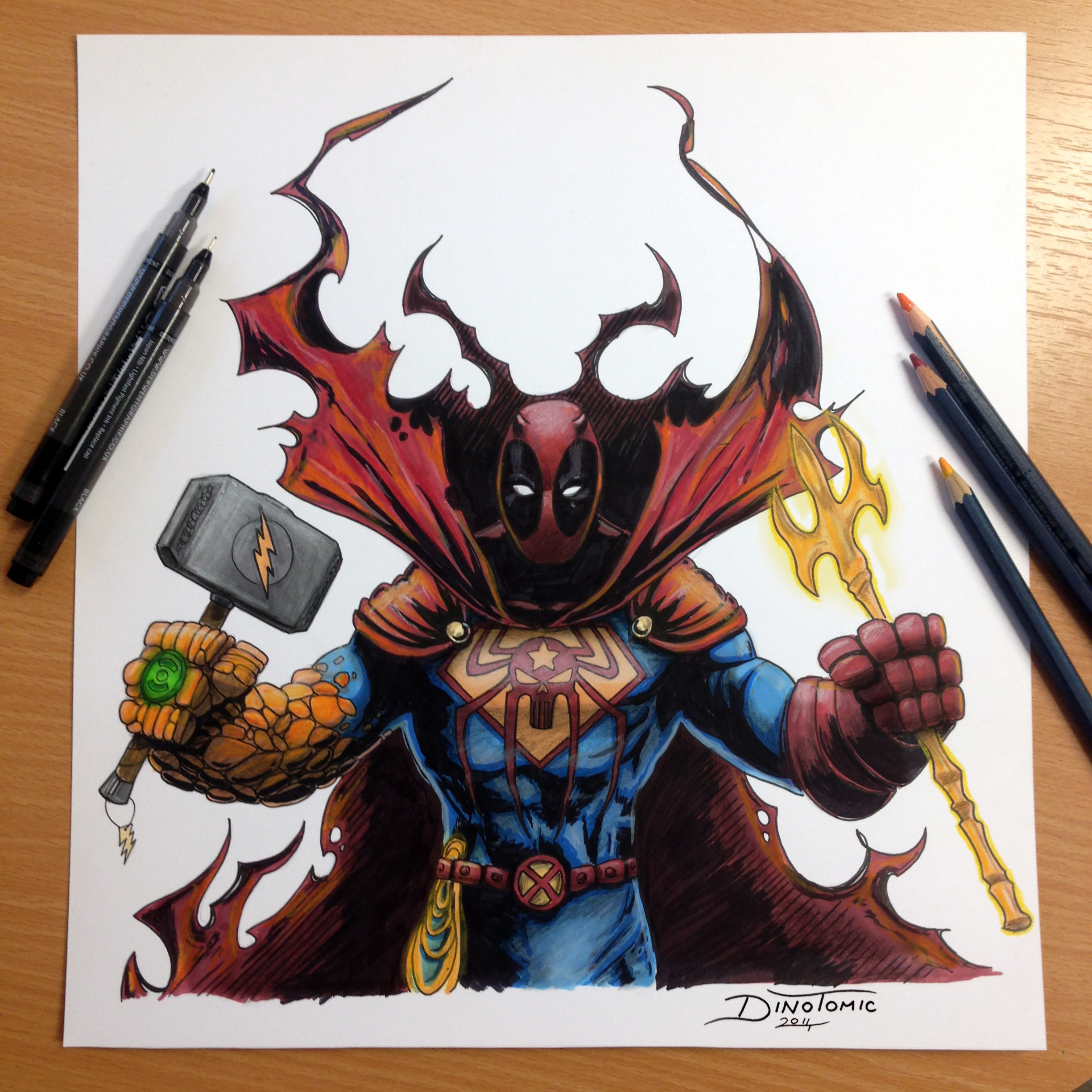 Cartoon Characters Mixed Together : Heroes combined into one pencil drawing by atomiccircus
