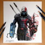 17 Game Character Combined into one Pencil Drawing