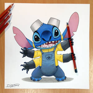 Stitch + Minion Pencil Drawing