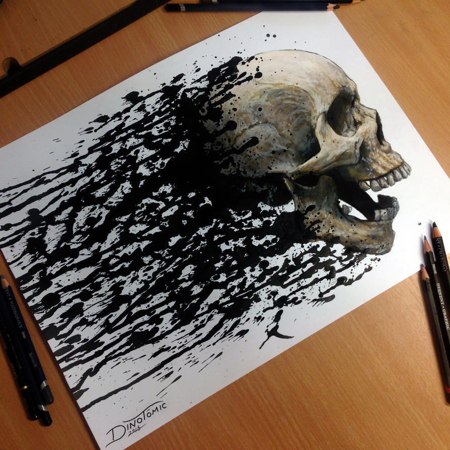 Skull Splatter Drawing by AtomiccircuS