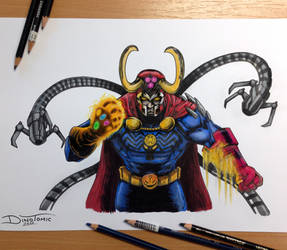 17 Villains Combined into one Pencil Drawing
