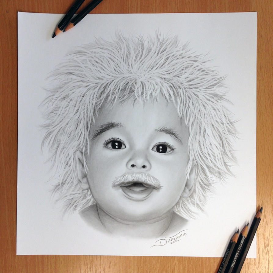 Baby Einstein Pencil Drawing by AtomiccircuS