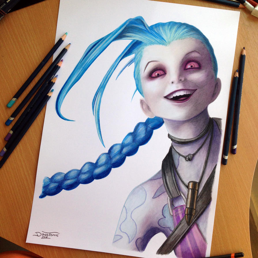 Jinx Color Pencil Drawing by AtomiccircuS