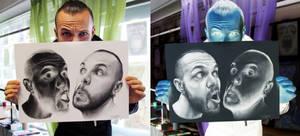 Inverted Self Portrait Drawings