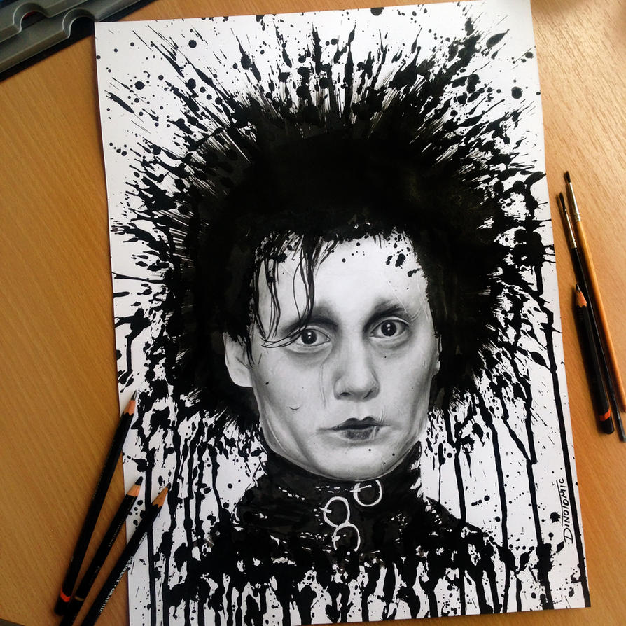 Edward Scissorhands Splatter Drawing by AtomiccircuS