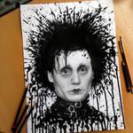Edward Scissorhands Splatter Drawing