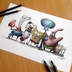 Creepy Spongebob Gang Pencil Drawing by AtomiccircuS