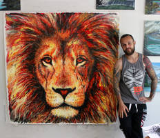 Lion Splatter Painting