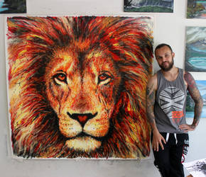 Lion Splatter Painting by AtomiccircuS