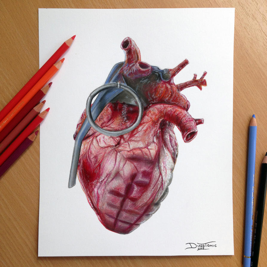 Grenade Heart Pencil Drawing by AtomiccircuS on DeviantArt  Realistic