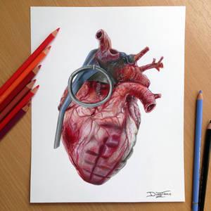 Grenade Heart Pencil Drawing