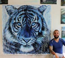 Tiger Splatter Painting by AtomiccircuS