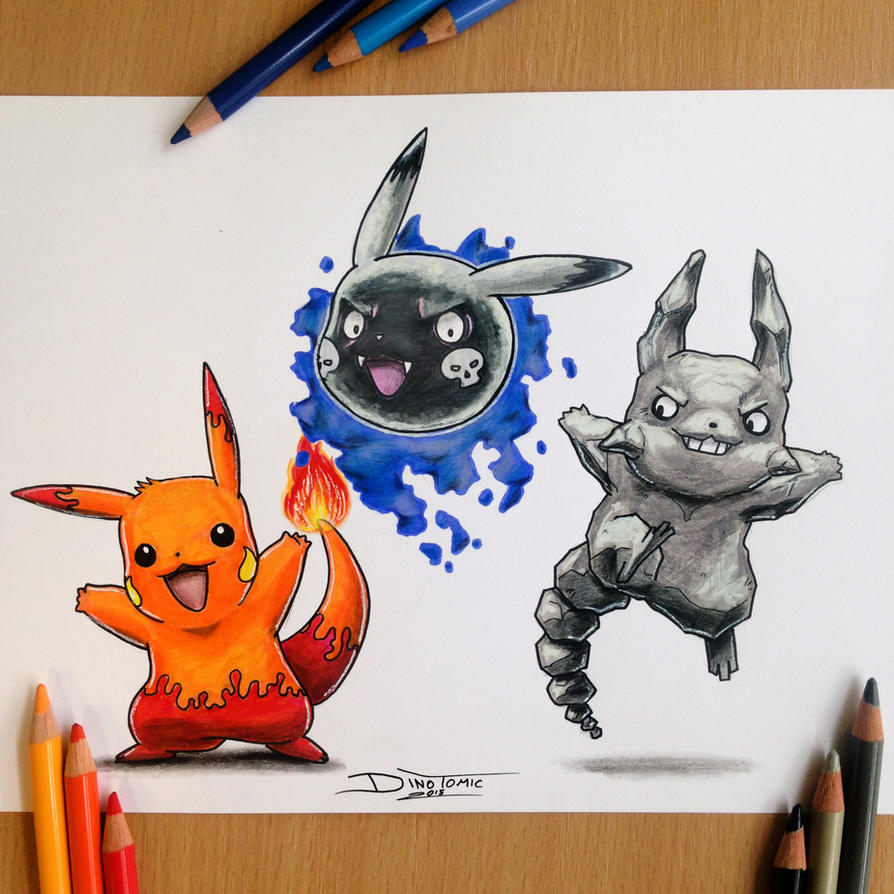 Pikachu new type Pencil Drawing by AtomiccircuS