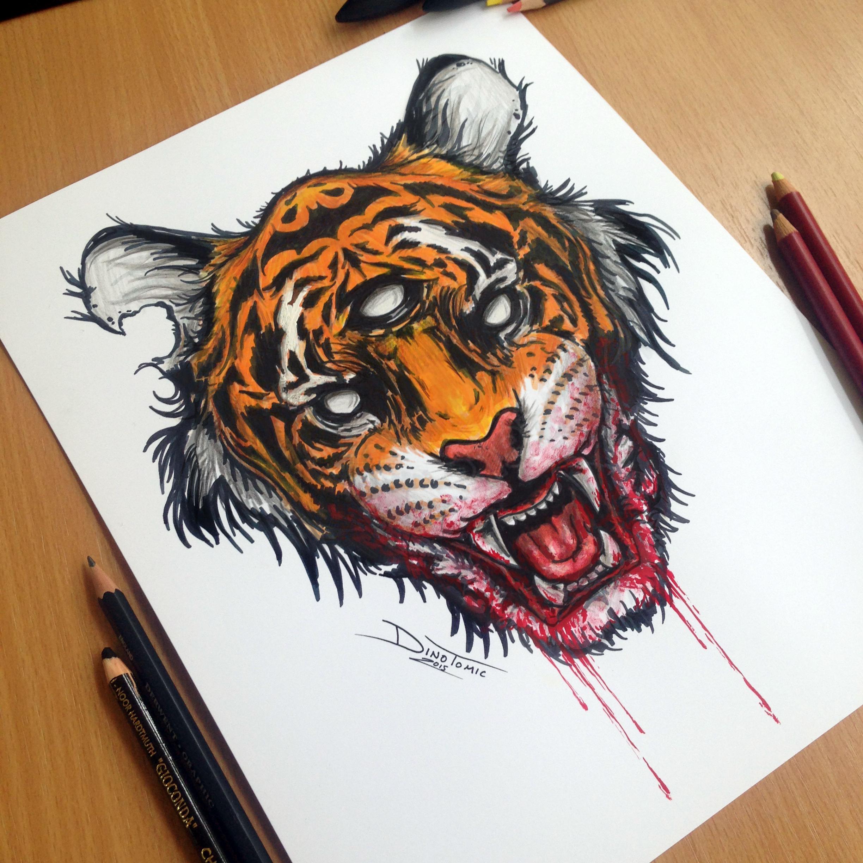 tiger marker drawing by atomiccircus on deviantart. Black Bedroom Furniture Sets. Home Design Ideas