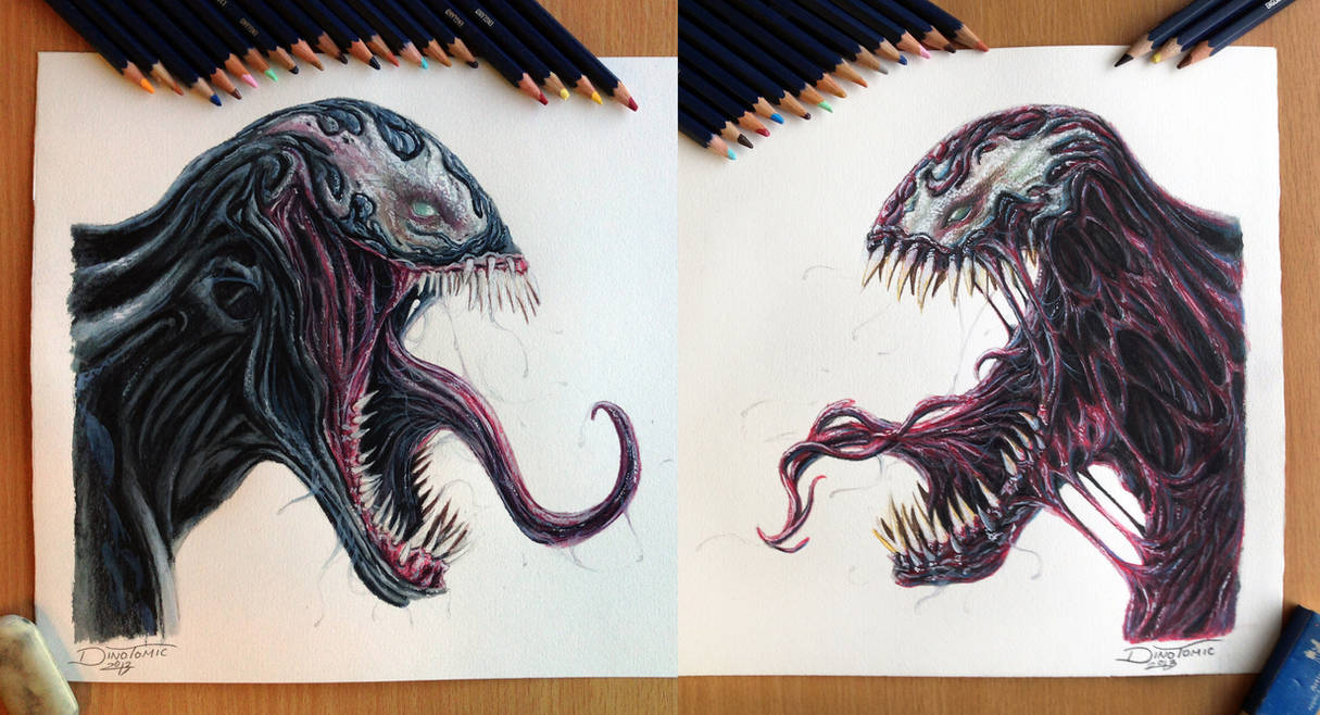 Venom Carnage Color Pencil Drawing By Atomiccircus On Deviantart