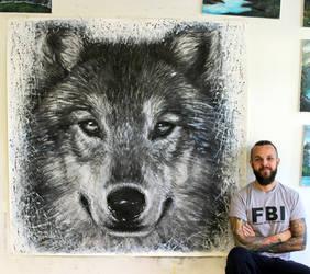 Wolf Large Splatter Painting