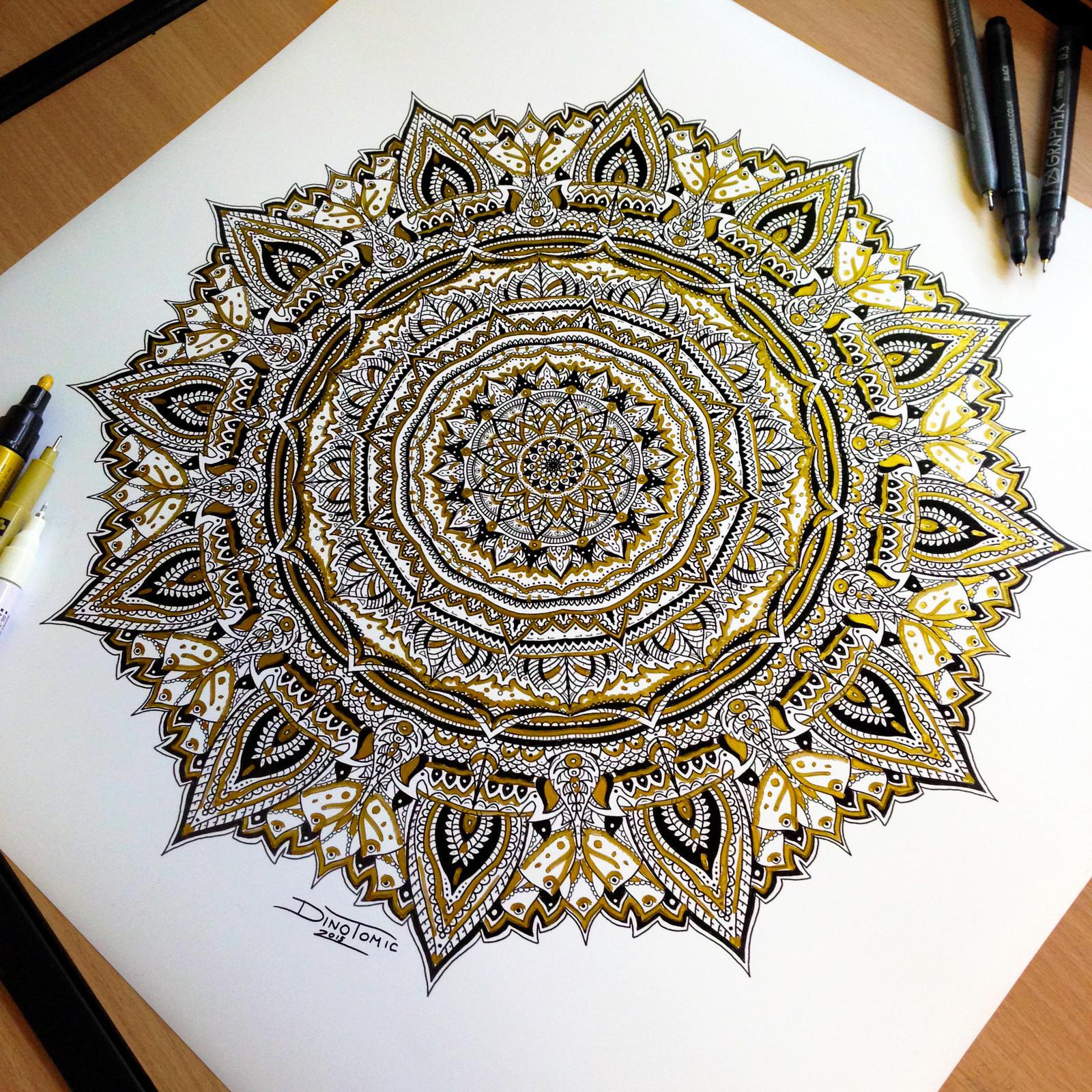 Golden Mandala Pen Drawing by AtomiccircuS