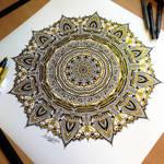 Golden Mandala Pen Drawing