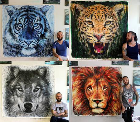 Large Animal Splatter Paintings