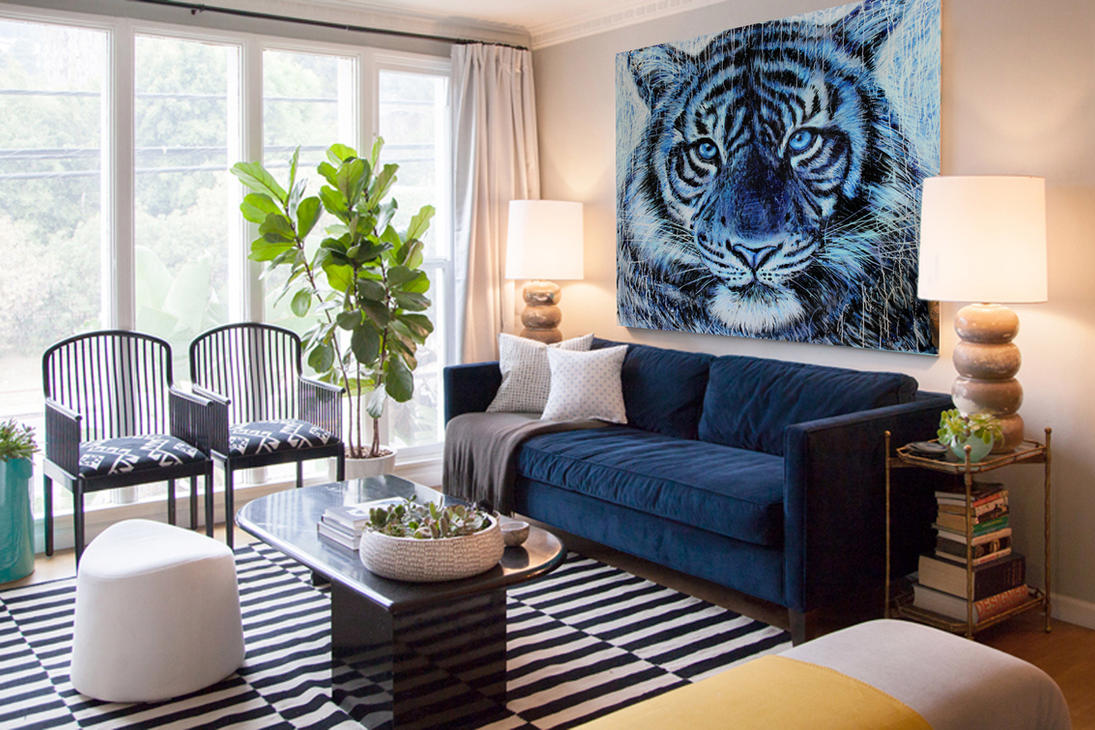 My tiger painting on the wall by AtomiccircuS