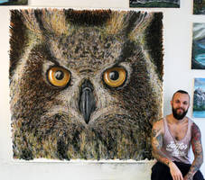 Large Owl Splatter Painting by AtomiccircuS