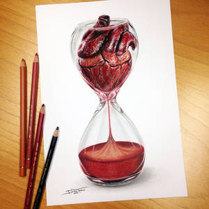 Heart Hourglass Pencil Drawing