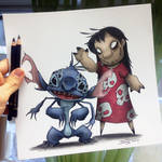 Creepy Lilo and Stitch Drawing