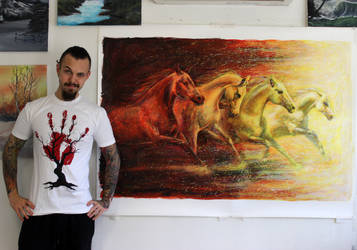 Fire Horses Large Painting by AtomiccircuS